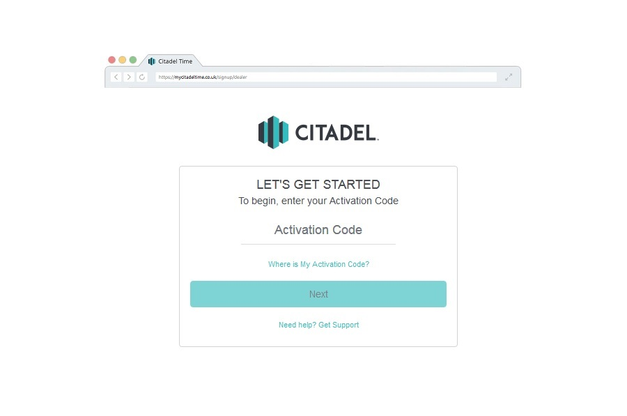 Citadel account sign-up
